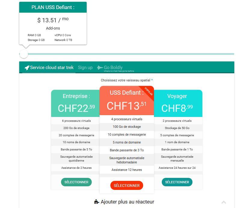 Estimateur de paiement du service cloud
