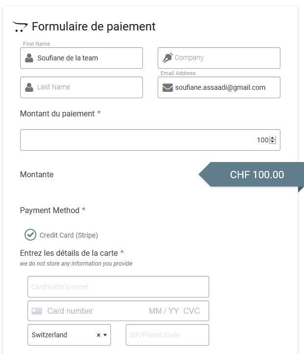 Formulaire de paiement très simple
